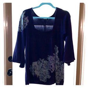 Purple bell sleeve tunic top